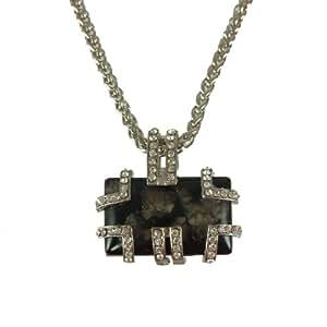 Stone River Rhodium Plated Diamante Set Black Stone Effect Oblong Necklace