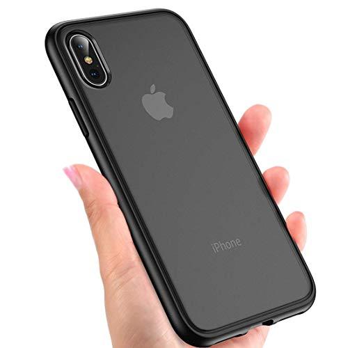 Humixx Hülle für iPhone XS,iPhone X,Scrub Matte Transluzent Rückenschale mit TPU Weiche Stoßstange Schutzhülle,Anti-Kratzen,Anti-Fingerabdruck,Anti-Fall,Ideale Kompatibel mit iPhone XS/X-Schwarz
