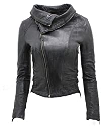 Ladies Short Retro Black Croc Removable Zip Neck Leather Biker Jacket