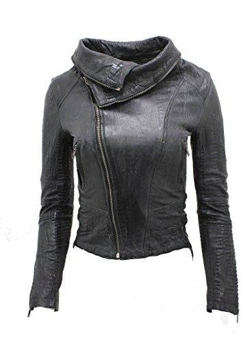 Damen Kurz Retro Schwarz Abnehmbare Zip Neck Leder Motorradfahrer Jacke 10 (Croc Leder Faux)