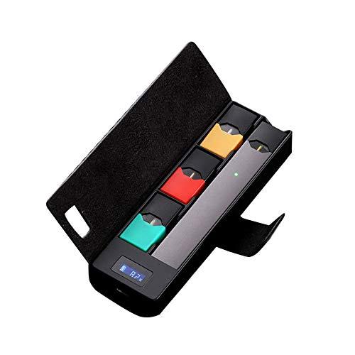 Tragbare Ladegerät Ladebox Pods Halter W LCD Ladeanzeige für JUUL Ausrüstung charger wireless fast pets protector animal auto car mit kabel (Black) -