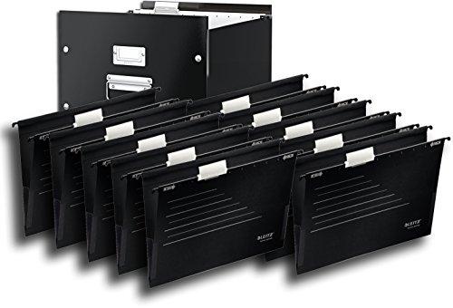 1 Kombi-set (Leitz 60460095 Archiv-Hängebox Click und Store, Graukarton, schwarz / Kombi-Set (1 Box + 10 Hängetaschen schwarz))