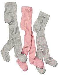wellyou leotardos para bebés/niños, medias para niñas, juego de tres pantimedias para niñas, color rosa y gris con puntos. Tallas 62-146