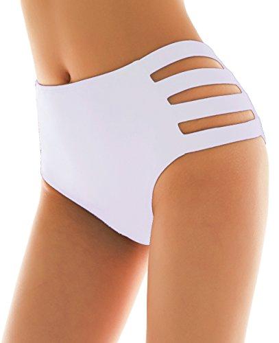 SHEKINI Damen Schwarze Badeshorts hohe Taille Bikinihose High Waist Bikini Höschen Plus Size S-XXXXL (Large, Strapped Sides- Weiß)