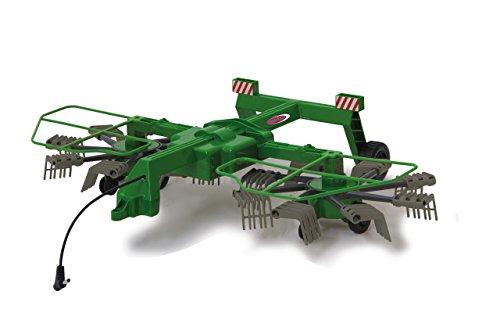 Jamara 412411 Schwader Twin Roto für Fendt 1050-rotierende Zinken während des Fahrbetriebs, ferngesteuerte hochklappbare Auslegerarme, Anhängerkupplung vorne, bunt