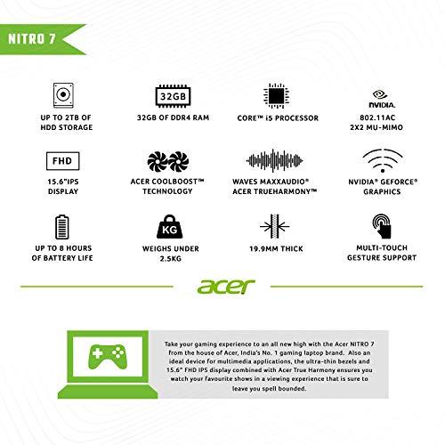 Acer Nitro 7 Intel Core i5-9300H Processor 15.6-inch Thin & Light Gaming 1920 X 1080 Laptop (8GB RAM/ 256GB SSD + 1TB HDD/ Win 10 / 4GB NVIDIA GeForce GTX 1650/Obsidian Black/ 2.5 kgs), AN715-51 Image 4