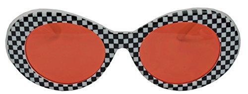 amashades Vintage Classics Ovale Retro Sonnenbrille für Damen 60er Jahre Stil KU18 (Karo/Rot)