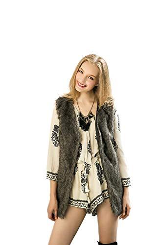 Battercake canottiera di pelliccia donna eleganti fashion calda pelliccia sintetica giacca smanicato casuale donne v-neck casual accogliente autunno invernali gilet di pelliccia cappotto