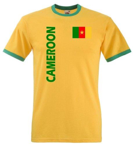Fruit of the Loom Kamerun Herren T-Shirt Cameroon Retro Trikot von S-XXL|XXL