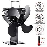 Lacyie Ventilador de Chimenea,Calor Powered Ecologico Ventilador de 4 Aspas para Estufa Quemador de Madera/Registro/Chimenea - Silencioso y Respetuoso con el medio ambiente