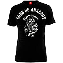 Hijos de la anarquía camiseta para hombre del segador Logotipo de negro de algodón serie