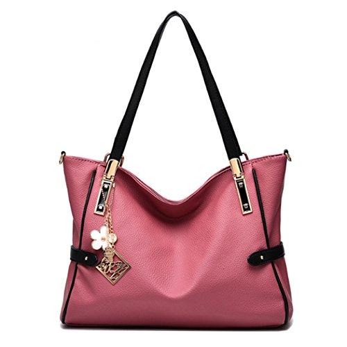 Sacchetti di spalla delle borse delle donne Sacchetto di Hobo del messaggero delle donne del cuoio del faux della borsa di Tote Rosa scuro