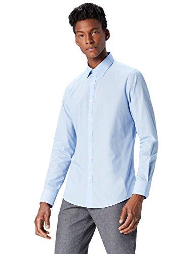 T-shirts camicia slim fit uomo, blu (blue 200), x-large (taglia produttore: 17)