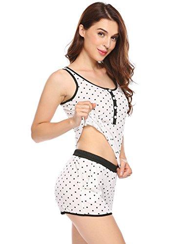 Untlet Damen Kurz Schlafanzug Polka Dots Nachtwäsche Set Ärmellos Pyjama Set Tank Top und Shorts Hausanzug Weiß700