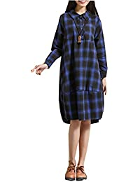 ELLAZHU Femme Carreaux Stet Collar Manche Longue Shirt Robe SJ45