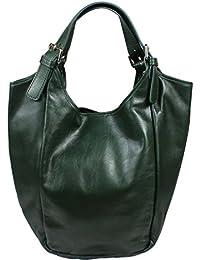 452ddb885b171 Schöne praktische Leder Grüne Handtasche aus Leder Adela Verde über die  Schulter