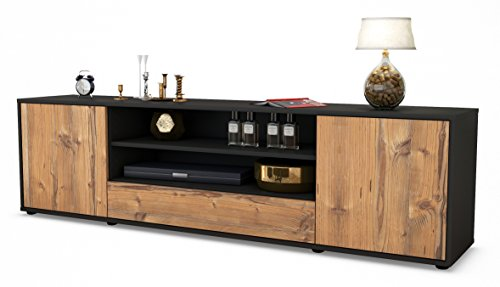 Stil.Zeit TV Schrank Lowboard Armida, Korpus in Anthrazit Matt/Front im Holz-Design Pinie (180x49x35cm), mit Push-to-Open Technik und Hochwertigen Leichtlaufschienen, Made in Germany