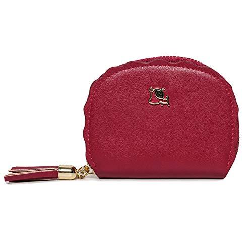 CHAOY Kleine süße Brieftasche für Frauen PU Leder Blatt Anhänger Multies Taschen Kartenhalter Veranstalter Reißverschluss Geldbörse mit Quaste,2 -