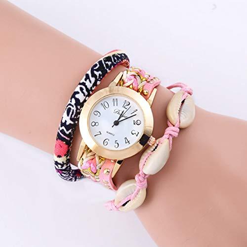 LLDNYSKH Mode zu sehen Neue Kreis Armbanduhr Persönlichkeit Nationalen Wind Geflochtenen Gürtel Quarz Mode Uhr Damenuhr