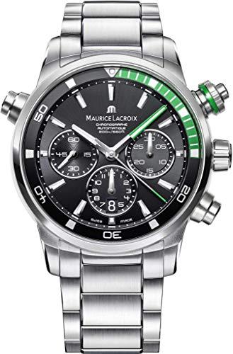 Maurice Lacroix Pontos S Diver cronógrafo para Hombre Relojes-44mm Negro Dial Banda de Acero Inoxidable Swiss Reloj de Buceo automático para Hombre PT6018-SS002-331-1