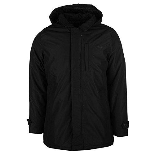 Pierre Cardin Mac con cappuccio da uomo nero giacche Coats Outerwear, Black, L