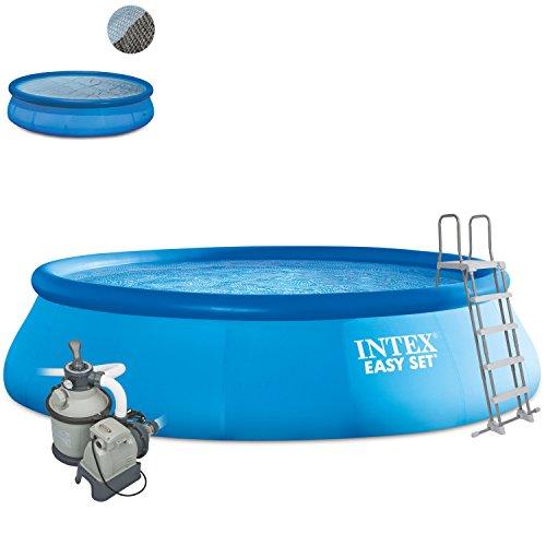 Intex 488x107 Komplettset mit Intex Sandfilteranlage 4m³, Intex Sicherheitsleiter, Intex Anschlusset, Solarfolie Swimming Pool Schwimmbad Easy Quick Up