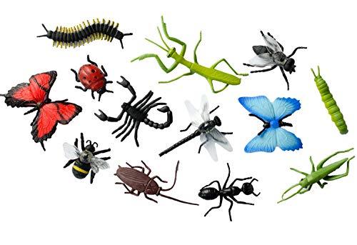 Miniblings 12x Insekten Figuren Aufstellfiguren Tierfiguren Gummitiere Tier -