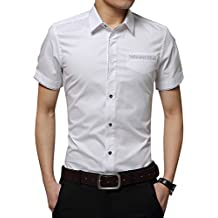 Camisa de manga corta para Hombres T-Shirt Oficina Tops Con Botón M/L/XL/XXL/3XL Blanco