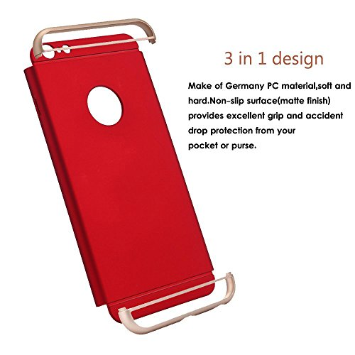 iPhone 6 Case,3 In 1 Ultra Thin and Slim Hard Case Coated Non Slip Matte Surface with Frame for Apple iPhone 6 (4.7'')(2014) and iPhone 6S (4.7'') - Silver Red