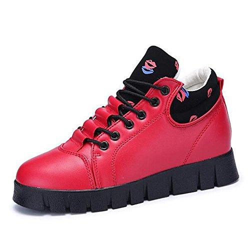 Le scarpe da donna autunno e invernale delle donne scarpe casual scarpe nell'ambito dell'aumento delle scarpe sportive Red