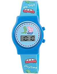 Peppa Pig Boy's Digital Watch with Blue Dial Digital Display and Blue Silicone Strap PP010