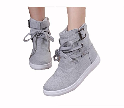 WZG Nouveau rond casual bottes plates dentelle femmes chaussures bottes boucle de ceinture étudiants dentelle chaussures hautes gray
