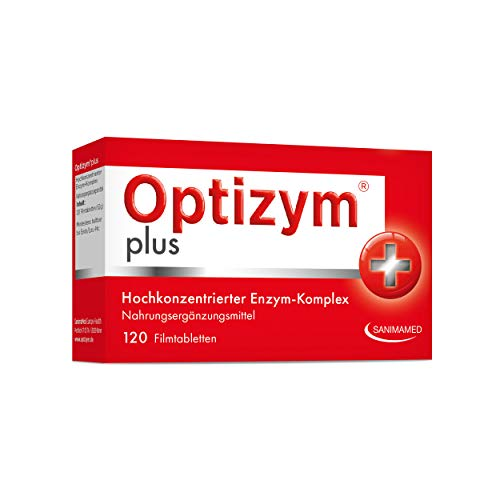 OPTIZYM plus Enzym-Komplex I 6-fach Enzyme in Kombination (Papain, Bromelain, Pankreatin, Rutin, Trypsin und Chymotrypsin) Hochdosiert - 120 Tabletten