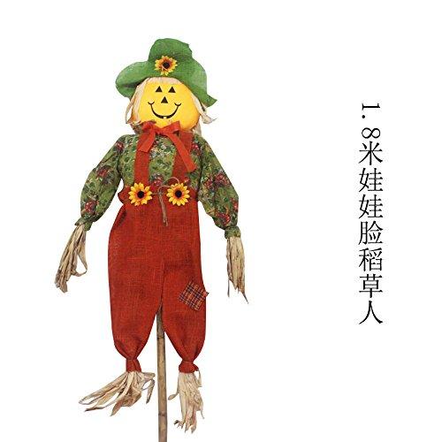 SunBai Halloween Dekorationen Kürbis Reis Stroh humane Die meisten Einkaufszentren ghost house Ornamente barKTV idyllische Szenen, 1,8 Meter eingerichtet Doll face Vogelscheuche
