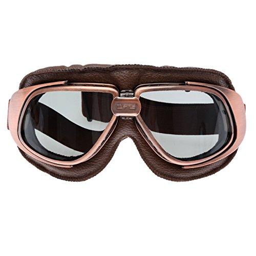 Retro Vintage Sonnenbrille Schutzbrille Pilot Motorrad Sport für Harley - Braun Glas