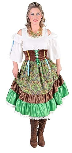 Kostüm Ungarn - narrenkiste M215182-XL-A grün-bunt Damen Ungarin Zigeuner Kleid Gr.XL