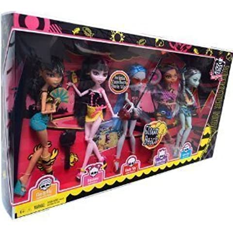 Monster High Gloom Beach Doll 5Pack Cleo de Nile, Draculaura, Clawdeen Wolf, Frankie Stein Exclusive Ghoulia Yelps by Mattel