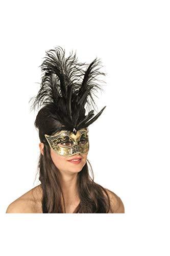 nische Maske mit Musik-Note und Feder Venezianischer Karneval Venedig Einheitsgröße Schwarz ()