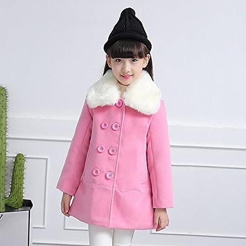 MYM chicas para niños niñas niños de la capa del invierno abrigo de piel de cuello de lana chaqueta rompevientos ,