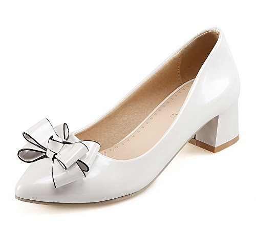 VogueZone009 Femme à Talon Correct Couleur Unie Tire Verni Pointu Chaussures Légeres Blanc