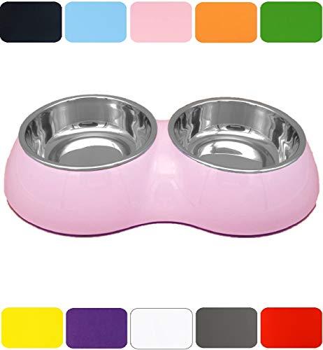 DDOXX Doppel Fressnapf in vielen Farben & Größen für kleine & große Hunde Katzen | Futternapf Katze klein | Hundenapf Hund groß | Katzennapf Edelstahl | Melamin-Napf | Rosa Pink, 2 x 160 ml