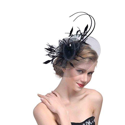 MAZY Englisch Tea Party Fascinator Hut Braut Haarschmuck Mesh Garn Haarspange Kopfschmuck Pferderennen Festival Hut (Farbe : SCHWARZ)