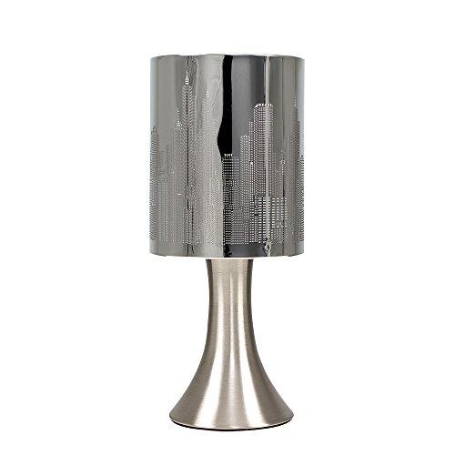 MiniSun – Lámpara de mesa moderna y táctil, de diseño - Cromada, inspirada en el paisaje de Nueva York