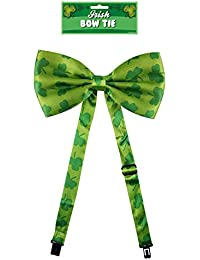 Green Irish Bow Tie with Shamrocks