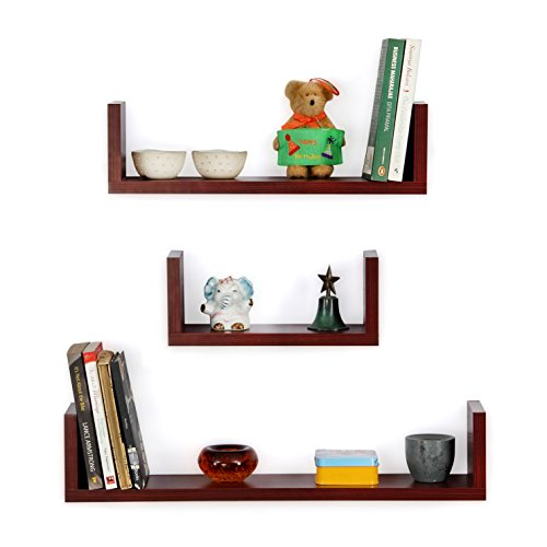 Forzza Ronald Wall Shelf, Set of 3 (Matte Finish, Mahogany)