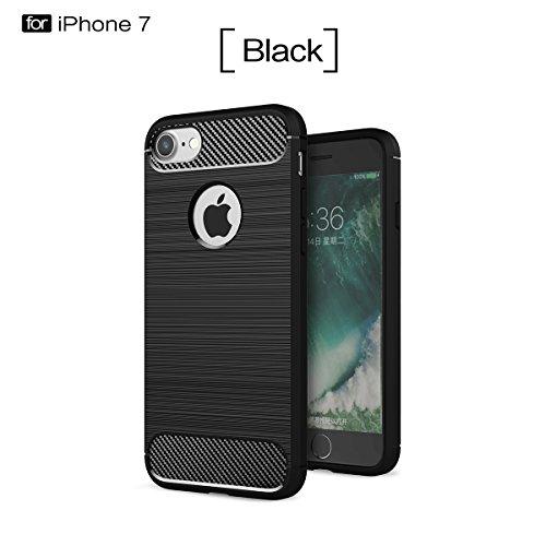 iPhone 7 (4.7 inches) hülle,COOLKE Premium weiche Karbonfaser Elastisch Soft TPU Schale Schutz Bumper Tasche Case Cover Handyhülle Schutzhülle für Apple iPhone 7 (4.7 inches) - Grau Schwarz