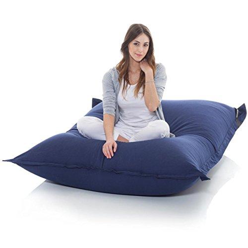 Manitou INDOOR Sitzsack BLAU - 100% Baumwolle - 180 cm x 140 cm - Inhalt 500 Liter - Made in Germany - abziehbarer Bezug - 30 Jahre Garantie