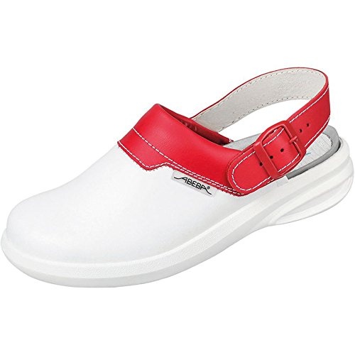 Abeba 7623-40 Easy Chaussures sabot Taille 40 Blanc/Rouge