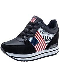 ee6bcfbe2 BOBOLover Zapatos de Mujer Adelgazar Aumentados Plataforma de Deportes  Informal de Cuero Casual Zapatillas de Deporte
