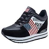 Lazzboy Damen USA Flagge Plateauschuhe Wedges Loafers Sneakers Turnschuhe(Schwarz,36)